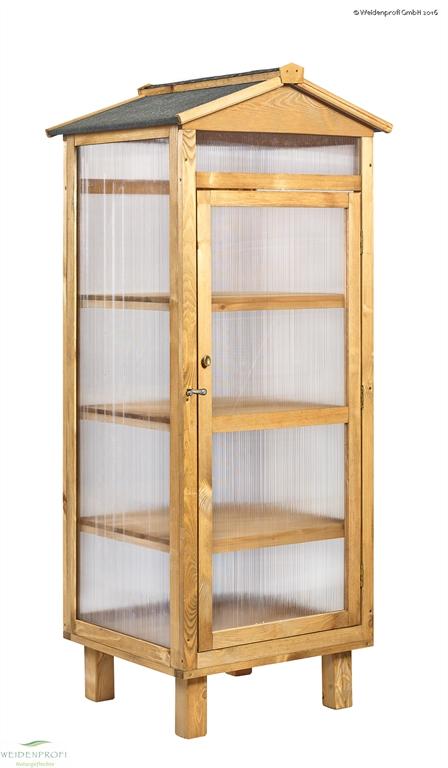 Balkongewächshaus, Holz und Doppelstegplatten, 60 x 58 x 170